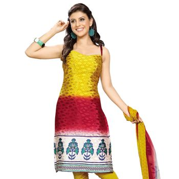 Fabdeal Yellow & Red Colored Crepe Jacquard Party Wear Printed Dress Material