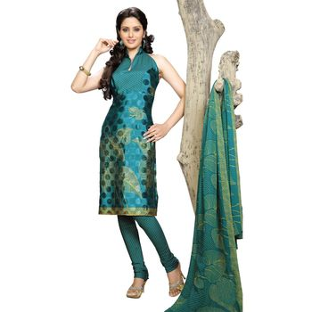 Fabdeal Green Colored Crepe Jacquard Party Wear Printed Dress Material