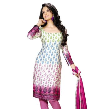 Fabdeal White & Pink Colored Crepe Jacquard Party Wear Printed Dress Material
