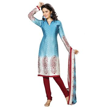 Fabdeal Red & Blue Colored Crepe Jacquard Party Wear Printed Dress Material