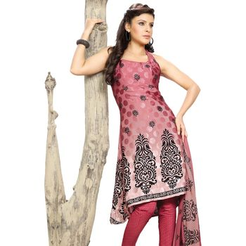 Fabdeal Pink Colored Crepe Jacquard Party Wear Printed Dress Material
