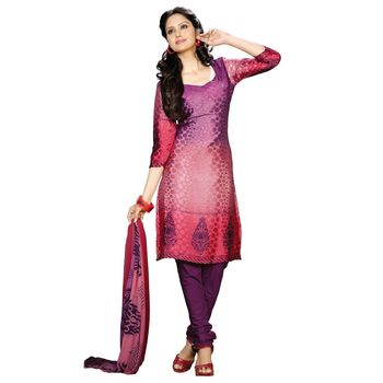Fabdeal Pink & Violet Colored Crepe Jacquard Party Wear Printed Dress Material