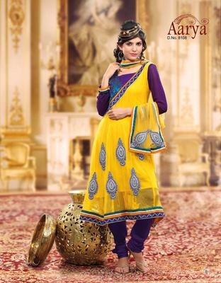 Ribbed georgette semi-stitched salwar kameez Diwali gifts special