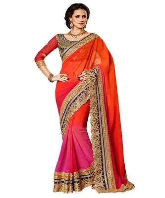 Pink + Orange embroidered georgette saree