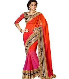 Buy Pink + Orange embroidered georgette saree party-wear-saree online