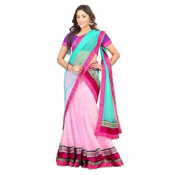 Pink embroidered net unstitched lehenga-choli