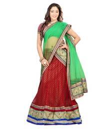 Buy Red embroidered net unstitched lehenga-choli navratri-lehenga-chaniya-choli online