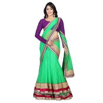 Green embroidered georgette unstitched lehenga-choli