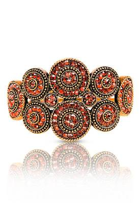 Just Women Traditional Kada with Orange color Semi Precious Crystals