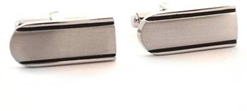 Rectangle Black Lines Matt Finish Cufflink