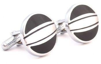 Black Silver Round Cufflink
