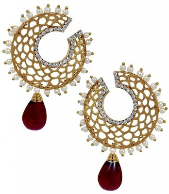 Filigree Chaand Gold Plated Garnet Maroon Drop Earring for Women