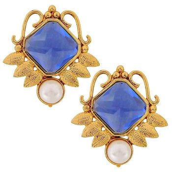 Faceted Blue Stone 18K Gold Plated Victorian Stud Earring for Women