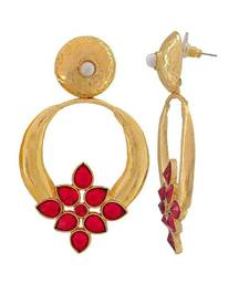 Red Turkish Flower Antique Gold Plated Turqoise Earring for Women