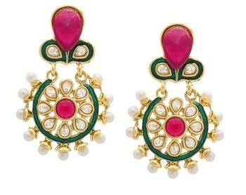 Flower Kundan Pearl Ruby Red Gold Plated Earring for Women
