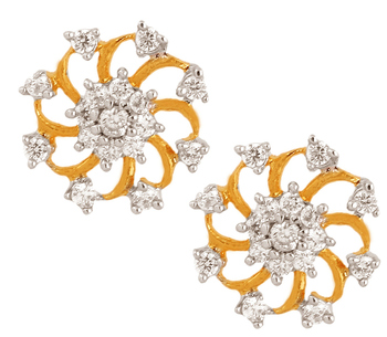 f6371d8f8 Nakshatra Flower 18K Gold Plated American Diamond Stud Earring for Women -  the jewelbox - 624646