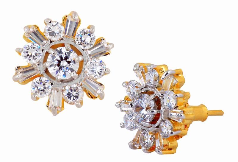 6bf46a9e0 Nakshatra Flower 18K Gold Plated American Diamond Baguette Stud Earring for  Women ...