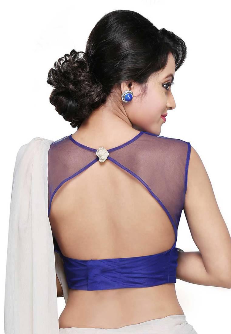 612f2b6c38ac5d Royal Blue color Air hostess style Sleeveless designer Indian ethnic wear  women Blouse ...