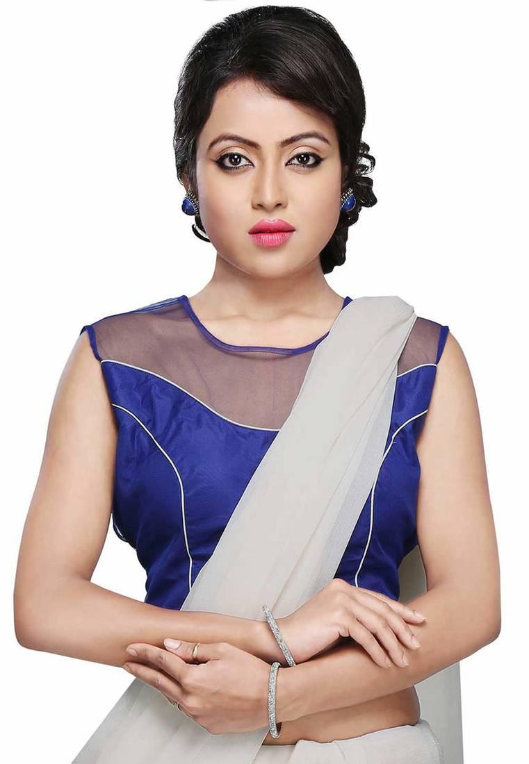f14814c6d508b6 ... Blue color Air hostess style Sleeveless designer Indian ethnic wear  women Blouse