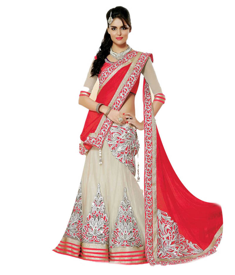 Buy Exclusive Rad amp Cream Color Designer Lehenga Choli Online