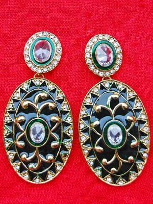 Green Meena Earrings