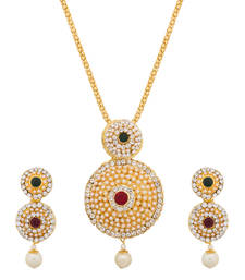 Buy Pearl Studded Red And Green Pendant Set PS Pendant online