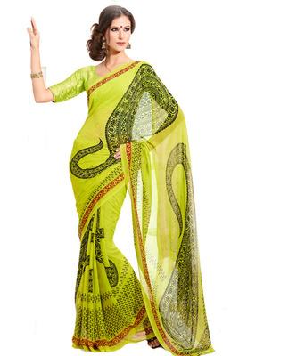 Green DESIGNER Georgette Printed Saree