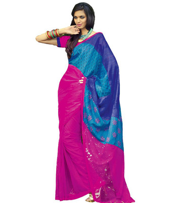 Magenta and blue art dupion silk and net printed saree with blouse