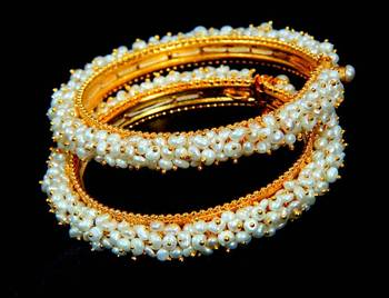 NATURAL PEARLS BANGLES FRO HYDERABAD JEWELS