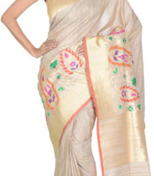 Buy Tussar (cream ) hand_woven silk saree with blouse tussar-silk-saree online