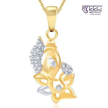 Sukkhi Indian Wedding Gold and Rhodium Plated CZ God pendants