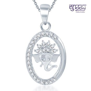 Sukkhi Glimmery Rodium plated CZ God pendants