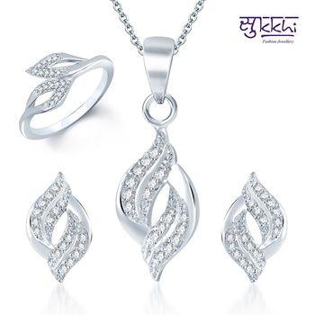 Sukkhi Enchanting Rhodium Plated CZ Pandent Set and Ring Combo