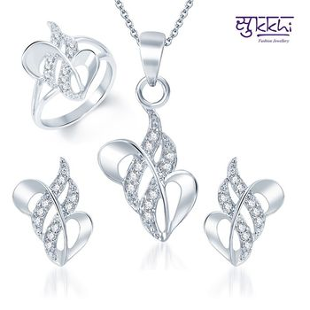 Sukkhi Fancy Rhodium Plated CZ Pandent Set and Ring Combo