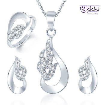 Sukkhi Glistening Rhodium Plated CZ Pandent Set and Ring Combo