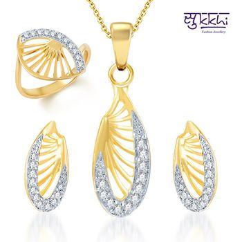 Sukkhi Glittery Gold and Rhodium Plated CZ pendants Set and Ring Combo