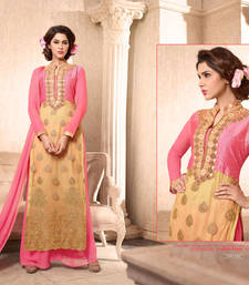 Buy Beige embroidered georgette semi stitched salwar with dupatta wedding-salwar-kameez online