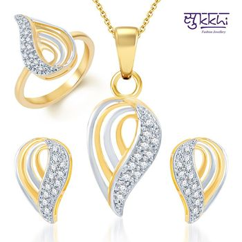 Sukkhi Youthful Trendy Gold and Rhodium Plated CZ pendants Set and Ring Combo