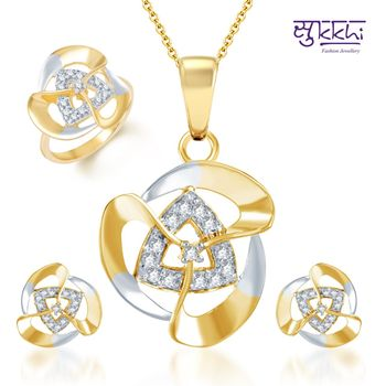 Sukkhi Creative Fashion Gold and Rhodium Plated CZ pendants Set and Ring Combo