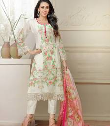 Buy Cream embroidered georgette semi stitched salwar with dupatta pakistani-salwar-kameez online