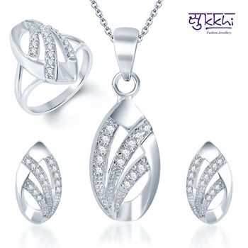 Sukkhi Elegant Wedding Rhodium Plated CZ Pandent Set and Ring Combo