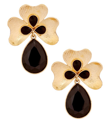 Antique 18k Gold Plated Black Crystal Large Flower Earring for Women