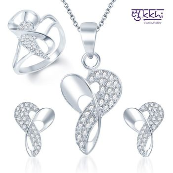 Sukkhi Appealing Rhodium Plated CZ Pandent Set and Ring Combo
