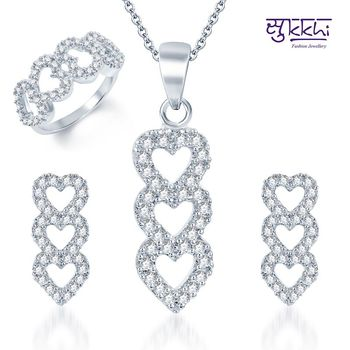 Sukkhi Beguiling Rhodium Plated CZ Pandent Set and Ring Combo