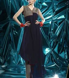 Navy Blue Pure Georgette Stitched Kurti