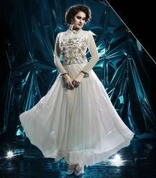 White Pure Georgette Stitched Kurti
