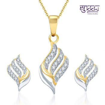 Sukkhi Well Crafted Gold and Rhodium Plated CZ pendants Set