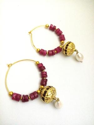 Maroon Golden Pearl Bali Earring