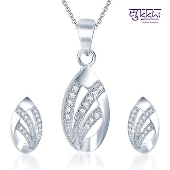 Sukkhi Exotic Rodium plated CZ pendants Set