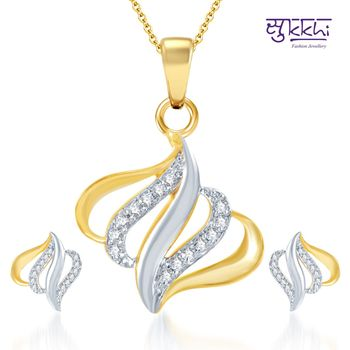 Sukkhi Classic Gold and Rhodium Plated CZ pendants Set